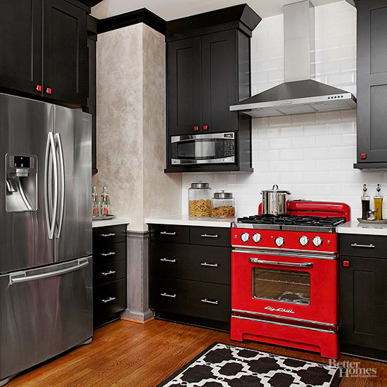 black, red, and white kitchen