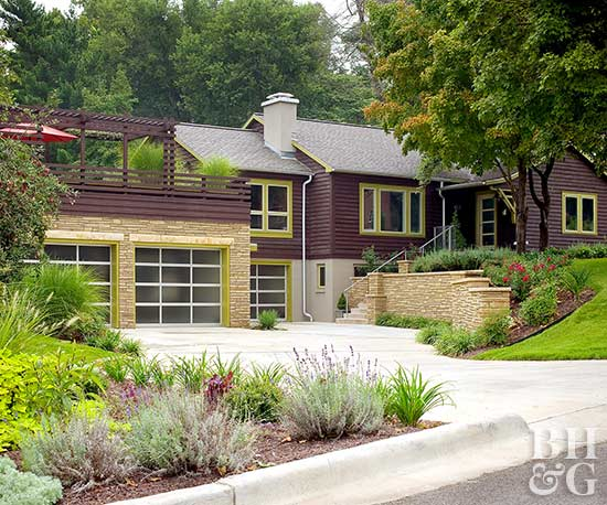 contemporary exterior with bright green trim