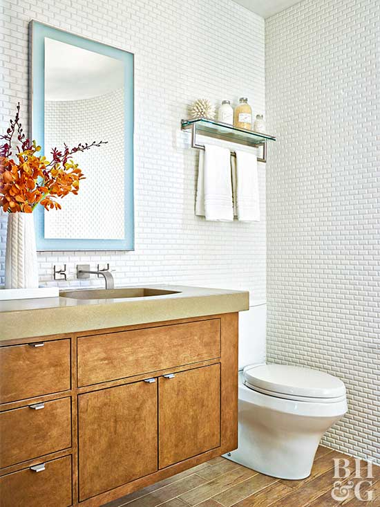 Superieur Bathroom, Tile Walls, Wood Floor, Vanity