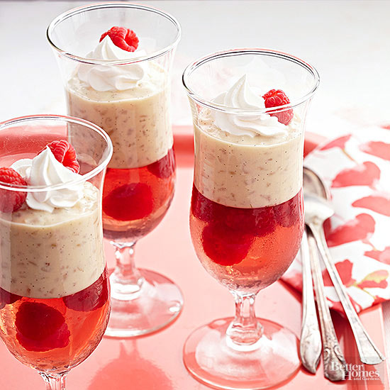 Raspberry, Moscato, and Vanilla Bean Parfaits