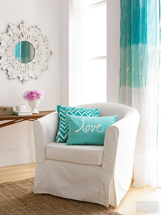 teal and white room