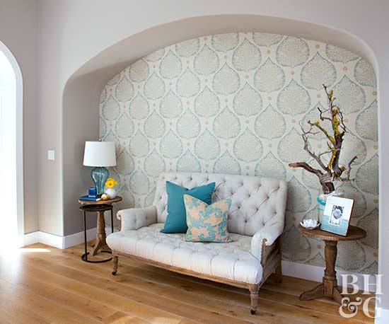 archway wall covering seating nook