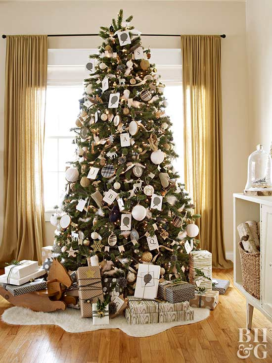 Captivating Real Home Christmas Tree, White And Gray Ornaments, Antique Looking