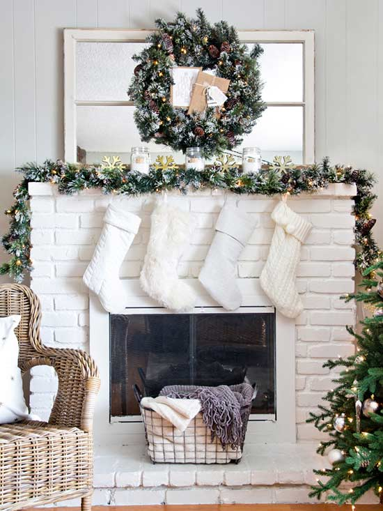 Christmas mantel daylight