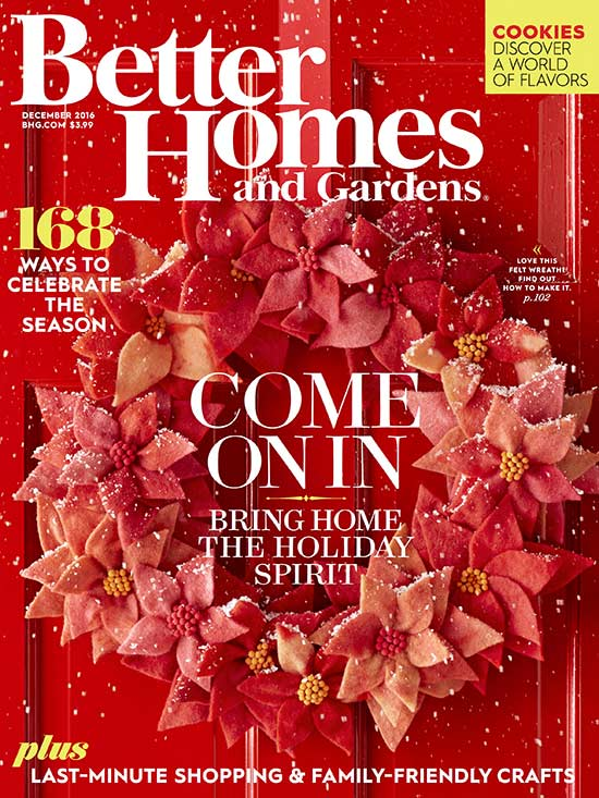 Better Homes and Gardens December 2016 cover