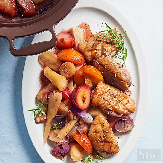 Duck Breast with Maple & Plums