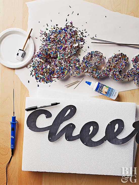 Cheers foam glitter project