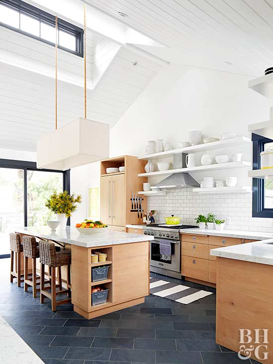 kitchen, floating shelves, high ceilings
