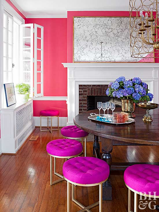 pink living room and dining