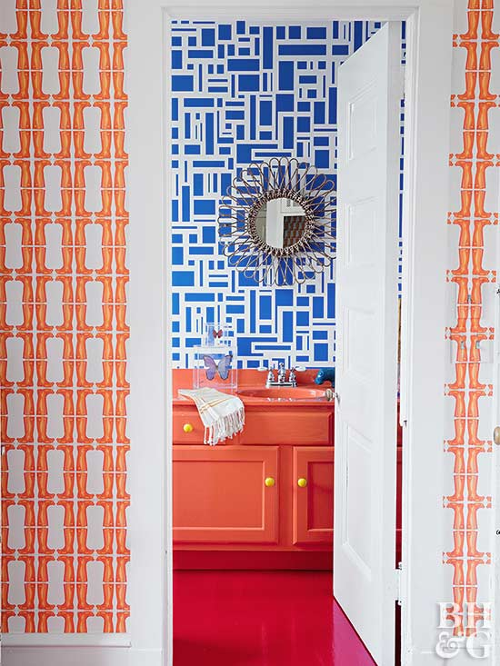 orange and blue decor