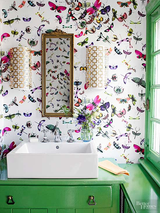 green bathroom with butterflies