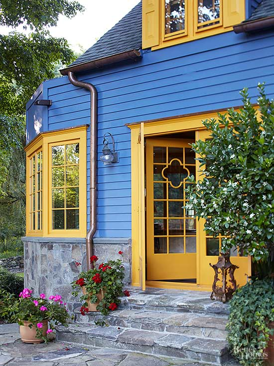 blue and yellow home exterior