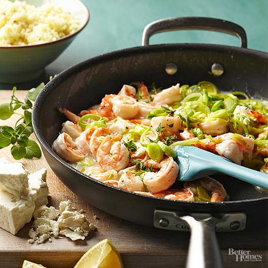 Greek Leeks and Shrimp Stir-Fry