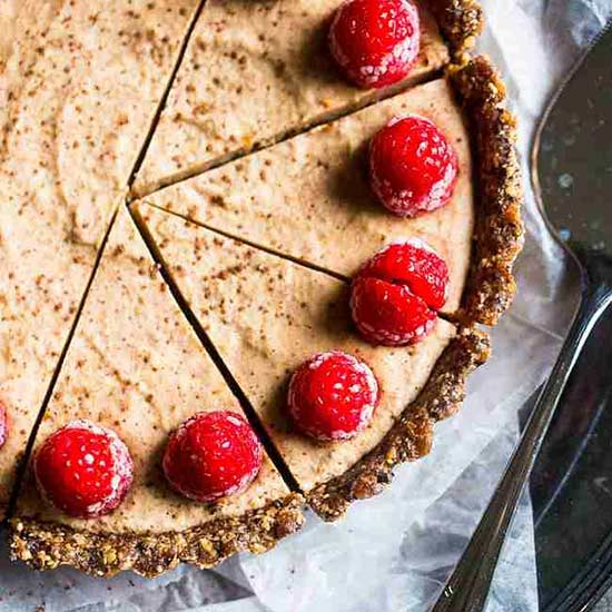 No Bake Chocolate Tart with Almond Cream and Raspberries