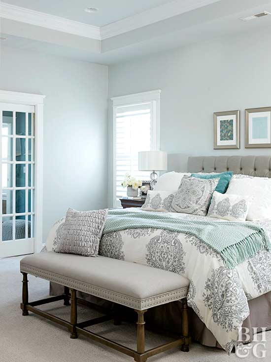 Neutral Bedroom With Soft Blue Walls