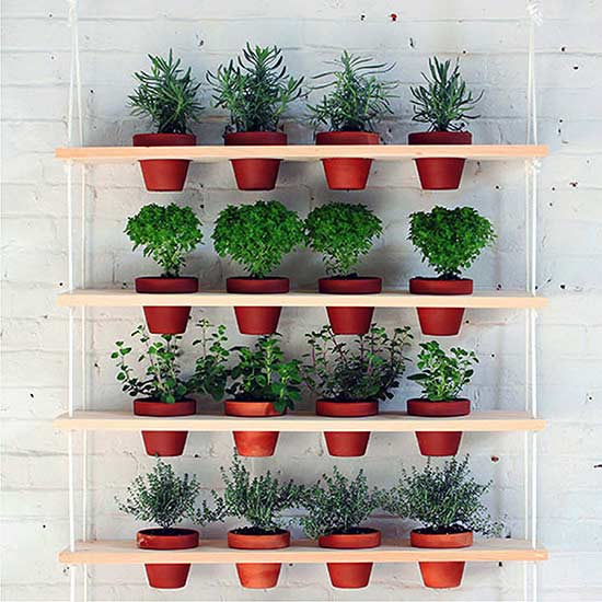 Hanging Wooden Shelves with Terracotta Pots