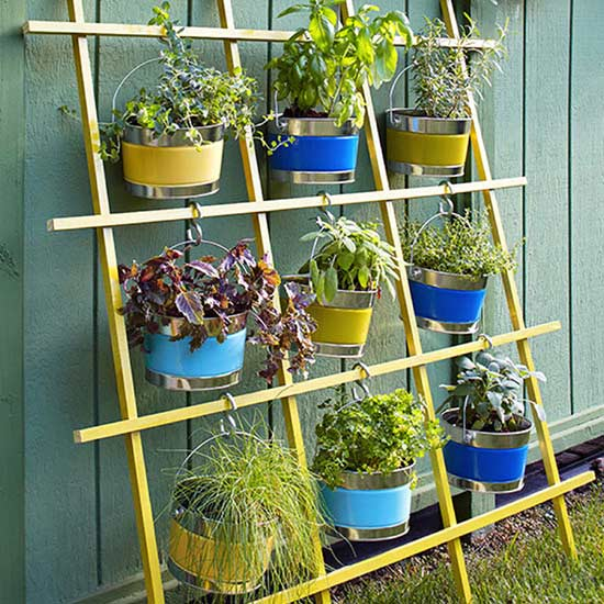 Leaning Trellis with Hanging Bucket Garden