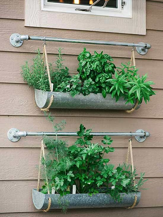 Wall-Mounted Pipe and Metal Hanging Planters