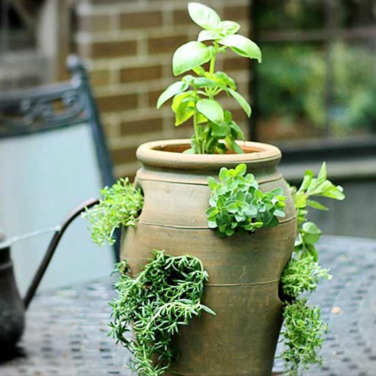 Quick and easy diy container herb gardens better homes - Better homes and gardens flower pots ...