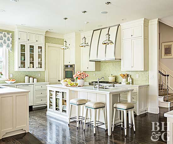 green and cream kitchen