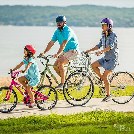 Traverse City, Michigan; family biking at Clinch Park