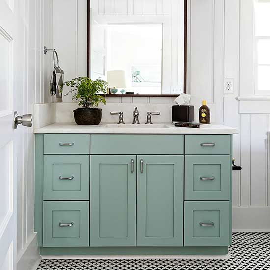 Teal bathroom cabinets