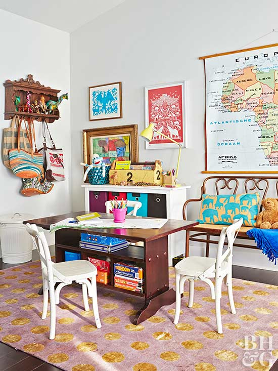 eclectic kids room with table and chairs