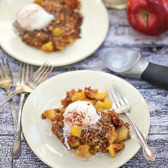 Grilled Apple Crisp Topped With Vanilla Ice Cream