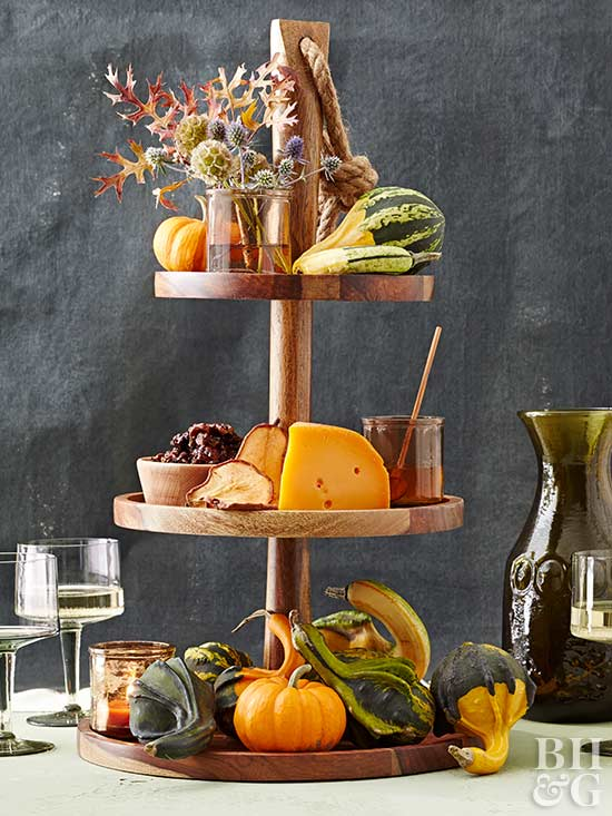 fall decor, tier stand, gourds