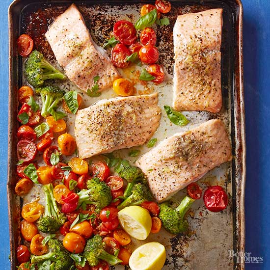 Lemon-Herb Roasted Salmon with Broccoli and Tomatoes
