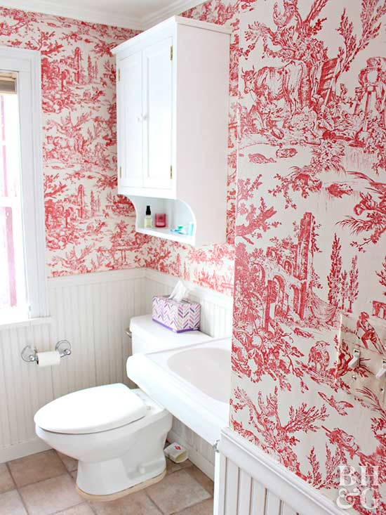 wallpapered bathroom