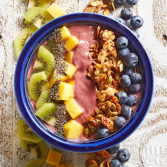 Ginger-Acai Bowls with Almond-Pepita Clusters