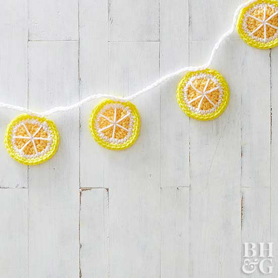 crochet lemon banner