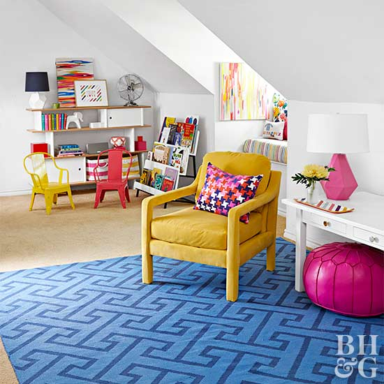 bright kids' playroom in loft