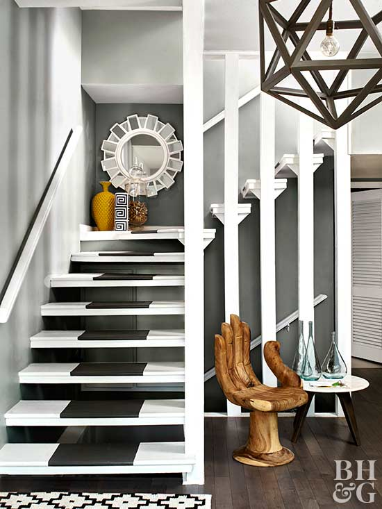 modern gray white staircase after