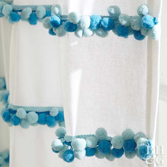 pom pom curtain detail