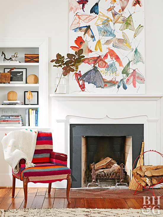 Fireplace with white mantle