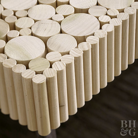 Corner and top view wood dowel table