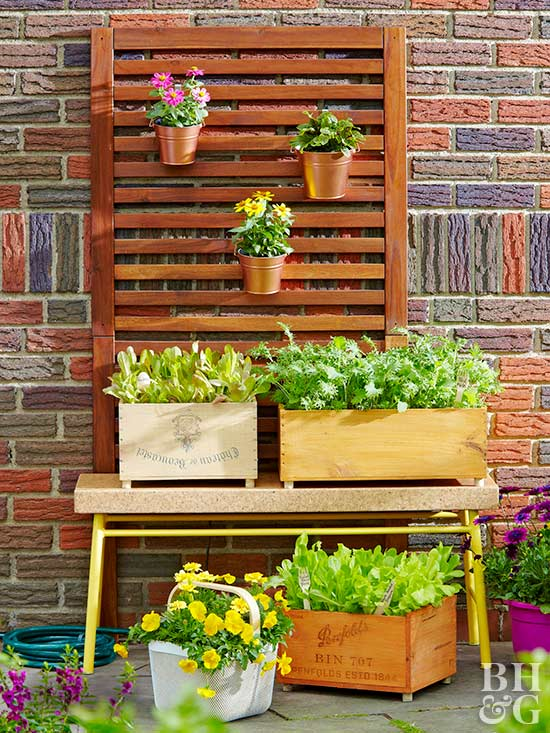 small wall garden, planters, planter boxes