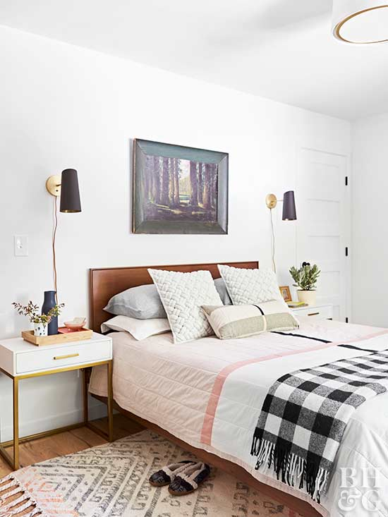 bedroom, pink sheets, area rug