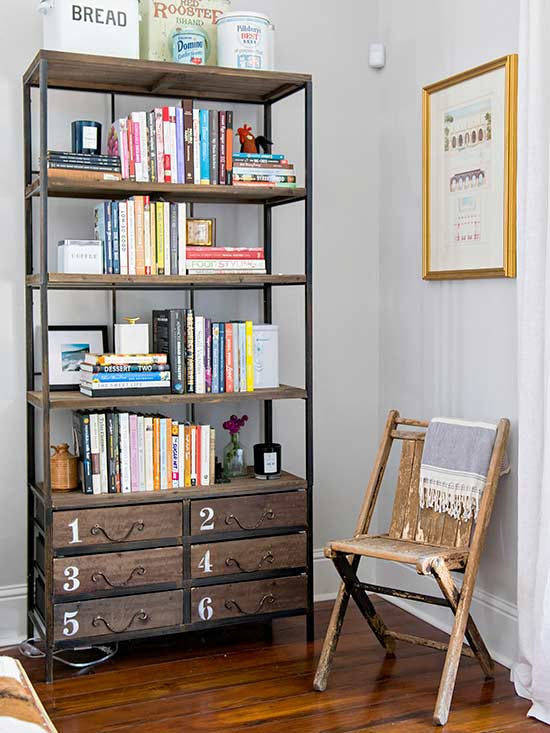 decorated industrial bookcase with drawers