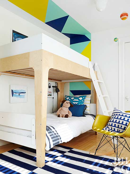 bunk beds, painted wall, area rug