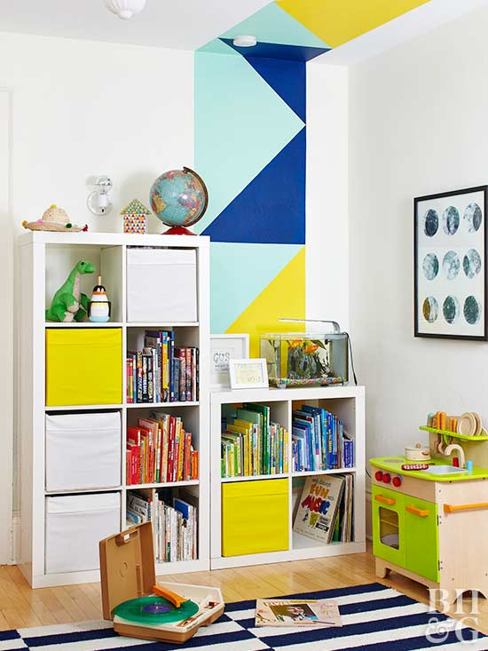 bookshelves, painted wall, toys
