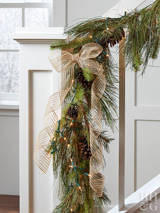Lighted garland down staircase