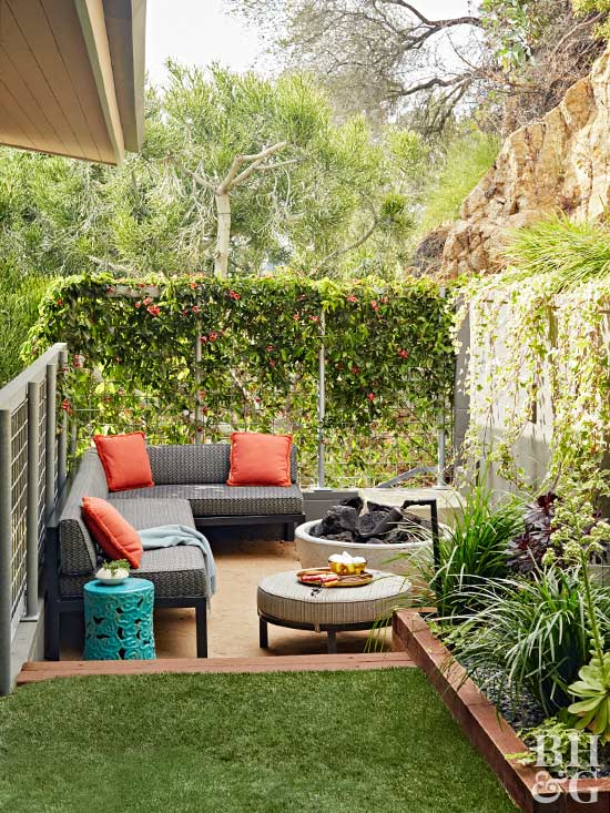 enclosed outdoor lounging area