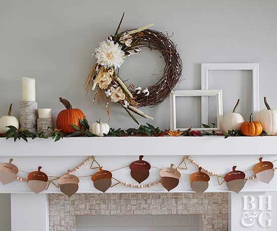 fall mantel decorations pumpkin acorn garland wreath