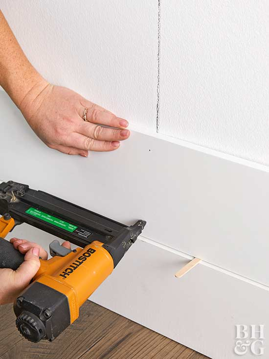 securing shiplap with nail gun