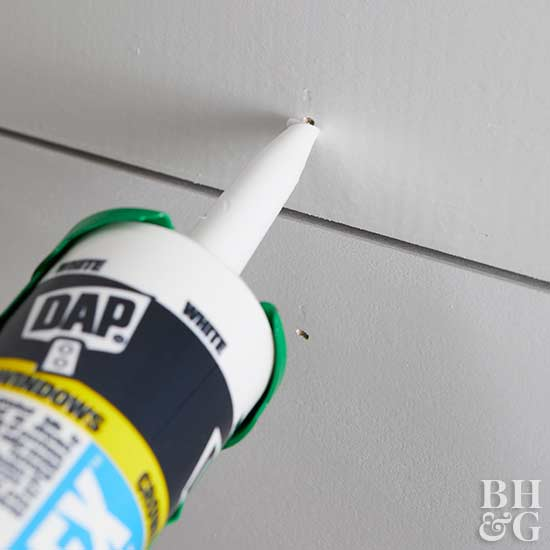 using caulking to fill holes