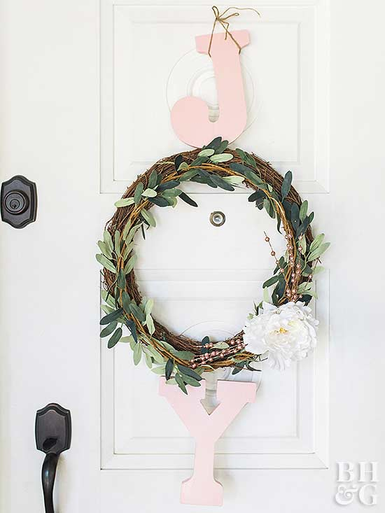 Joy holiday eucalyptus garland wreath