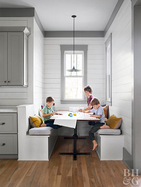 Three boys in breakfast nook